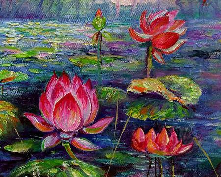 Art painting Fine art Oil color lotus Flowers