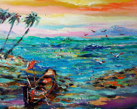 Art painting oil rcolor Boat Sky wave sea