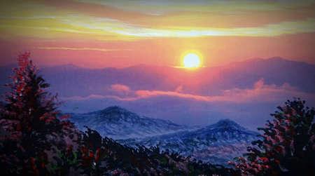 Art Oil painting Fine art color Sunrise atmosphere in thailand