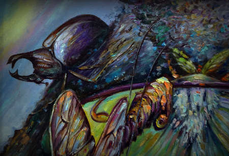 Art painting Fine art Oil color Night butterfly