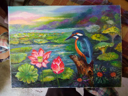 Art oil painting  bird , flower , abstract , design , background from thailand 版權商用圖片
