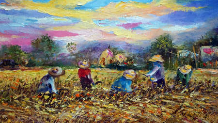 Art ,painting ,Oil ,color ,Harvest ,Rice , Countryside i, provinces Thailand , canvas