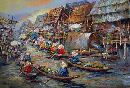 Art ,painting ,Oil, color, Floating ,market ,Thai land Imagens