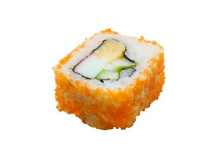 philadelphia roll: traditional fresh japanese sushi rolls on a white background
