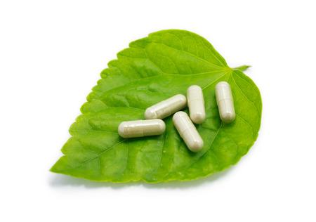 herbal medicine capsules pills on green organic herb leaf