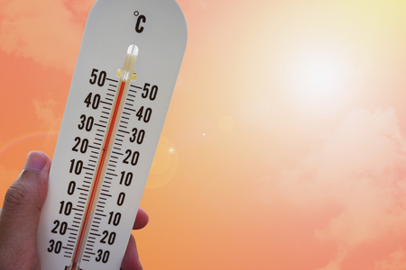 extreme heat: thermometer with hot temperature, hot weather