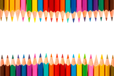 Colour pencils isolated on white background close up Banque d'images