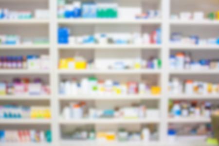 blur shelves of drugs in the pharmacy 스톡 콘텐츠
