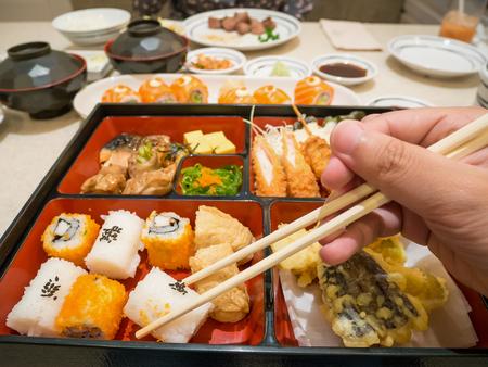 bento box: bento box with sushi, tempura and salad