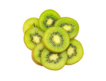 beautiful kiwi fruit slices isolated on white background Stock Photo