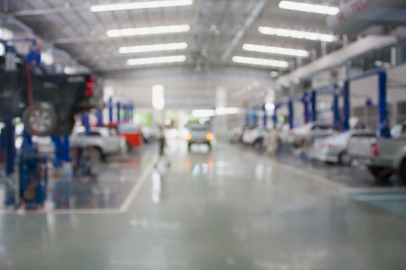 car repair service center blurred background Archivio Fotografico