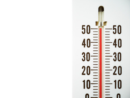 hot temperature: Closeup thermometer showing temperature in degrees Celsius, Hot temperature isolated on white background Stock Photo