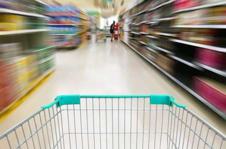shopping at supermarket with trolley