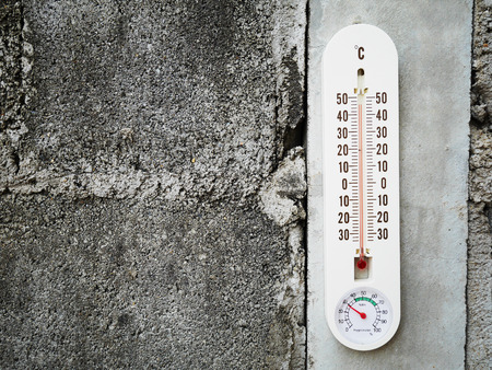 hot temperature: Closeup thermometer showing temperature in degrees Celsius, Hot temperature Stock Photo
