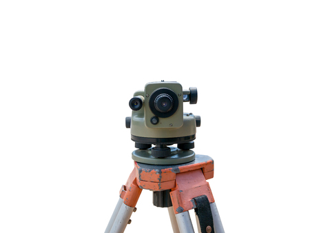 tacheometer: Construction equipment theodolite level tool isolated on white background Stock Photo