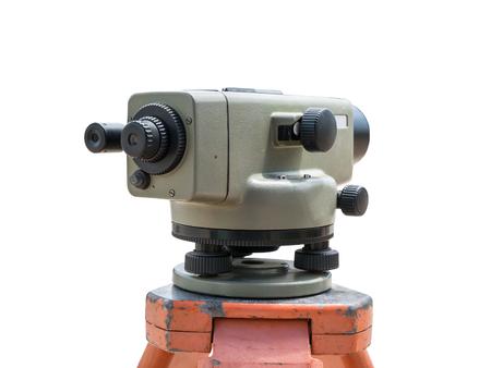 teodolito: Construction equipment theodolite level tool isolated on white background Foto de archivo