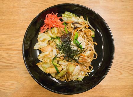 fried noodle: Yakisoba, japanese fried noodle Stock Photo