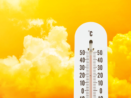 hot temperature: thermometer in the sky, hot temperature Stock Photo
