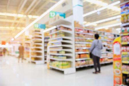 Supermarket interior blur background with customers