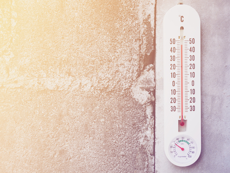 extreme heat: Closeup thermometer showing temperature in degrees Celsius, Hot temperature Stock Photo