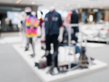 retail shopping: blur clothing store display Stock Photo