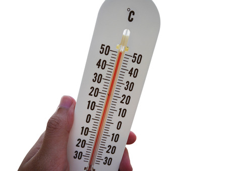 hot temperature: thermometer with hot temperature isolated on white background