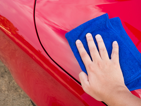 microfiber: cleaning the car with microfiber cloth