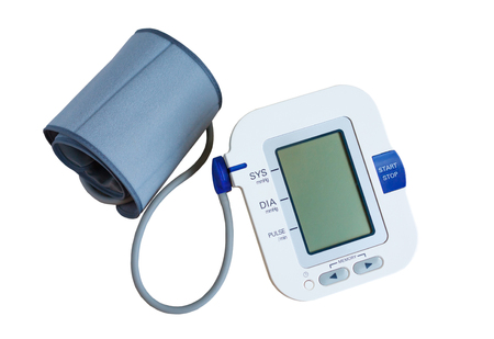 tonometer: Digital Blood Pressure Monitor isolated on white background Stock Photo
