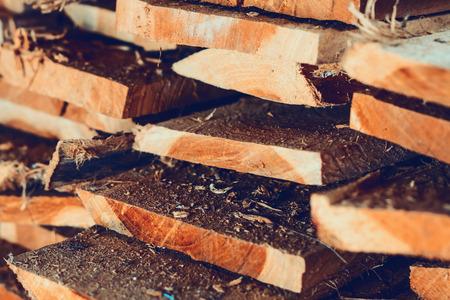 lumber mill: Large stack of wood planks, teak wood Stock Photo