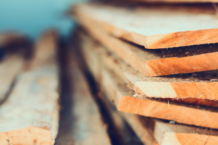 teak wood: Large stack of wood planks, teak wood Stock Photo