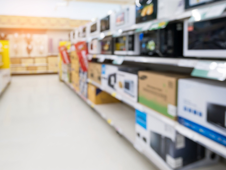 blur electronics store aisle for background