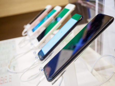 mobile smartphone in electronic store