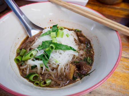 noodles soup: thai style beef noodles soup Stock Photo