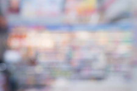 corridors: Abstract supermarket convenience store shelves blurred background Stock Photo
