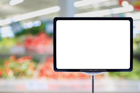 distribution board: Blank price board sign display in Supermarket with fresh food abstract blurred background with bokeh light