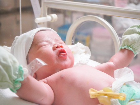 premature: new born baby infant sleep in the incubator at hospital