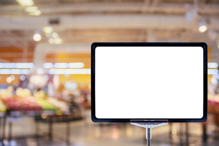 Blank price board sign display in Supermarket with fresh food abstract blurred background with bokeh light
