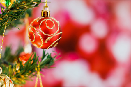 Christmas tree with ornaments background Stock Photo
