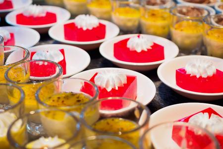 Red Sweet Gelatin Dessert on white plate in buffet restaurant