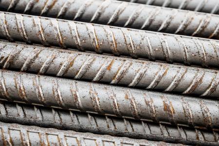 Deformed steel bars for reinforce concrete, metal texture close up