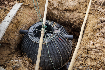 septic tank installation into the ground