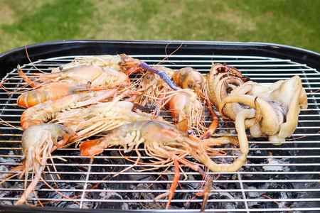 Grilled river shrimps