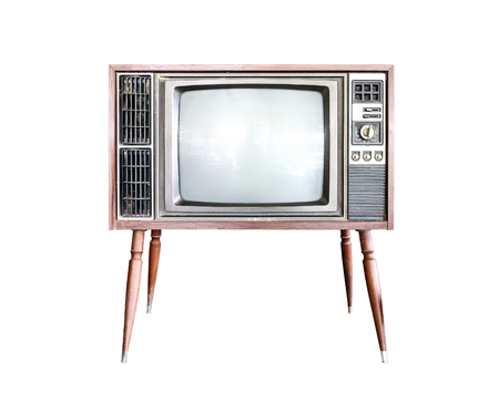 Old vintage classic retro television isolated on white background