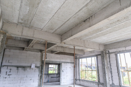 reinforced concrete slabs of residential house building under construction Stock Photo