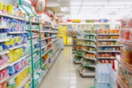 blur supermarket convenience store aisle for background