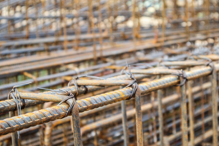 steel rebar for reinforced concrete at building construction site 스톡 콘텐츠