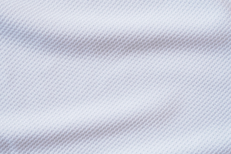 White football jersey clothing fabric texture sports wear background, close up Stok Fotoğraf - 102576925