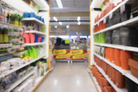 garden tool equipment shelves in home improvement retail store or supermarket 写真素材