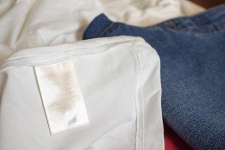 clothing label on white t shirt