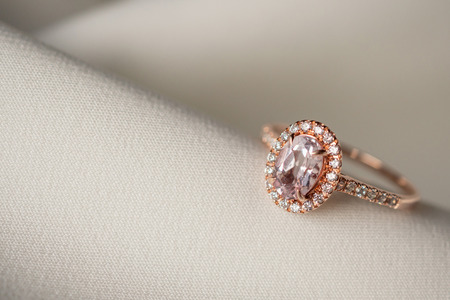 Jewelry wedding pink diamond ring close up